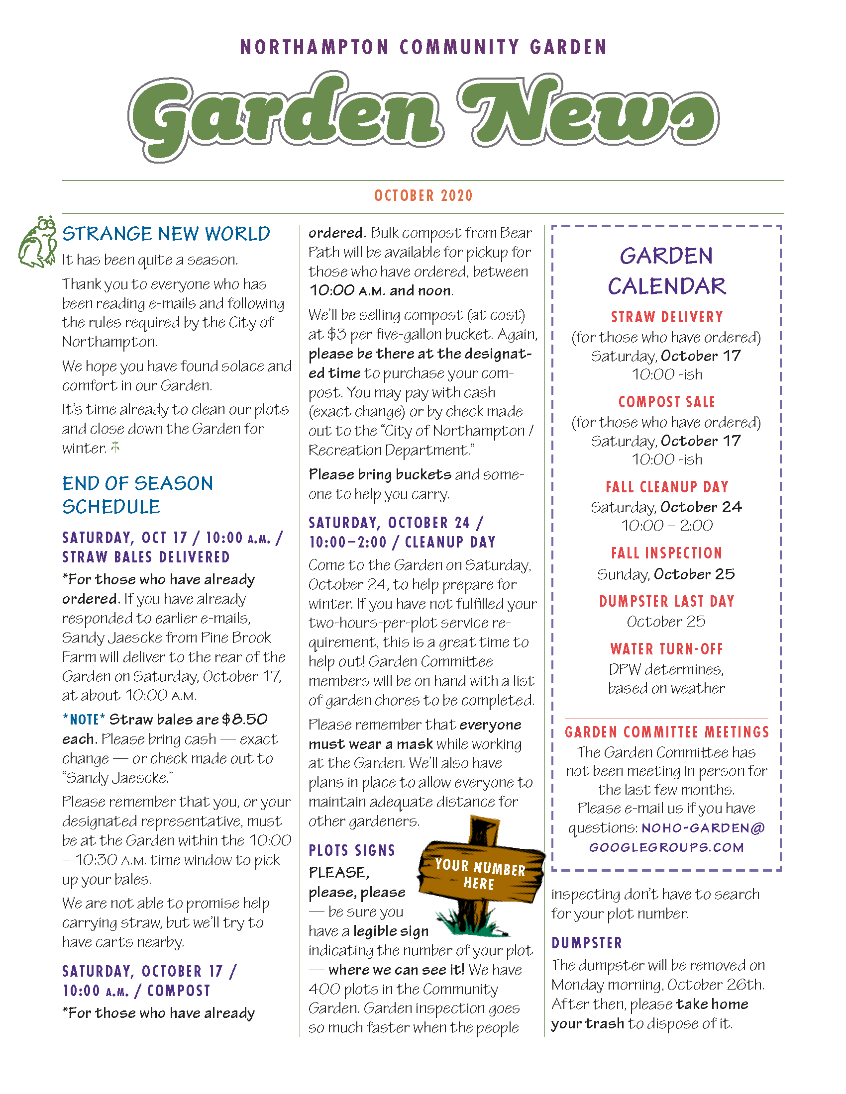 Link to October 2010 Garden Newsletter